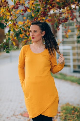 šaty Little Mustard Wrap Dress
